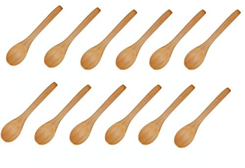 Handmade Wooden Spoon, Small Wooden Serving Spoons Condiments Salt Spoons Honey Teaspoon Coffee Tea Sugar Salt Jam Mustard Ice Cream Spoons Wooden Cutlery (12Pc) ()