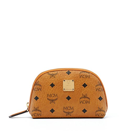 MCM Cognac Visetos Medium Heritage Cosmetic Pouch Toiletry Bag by MCM