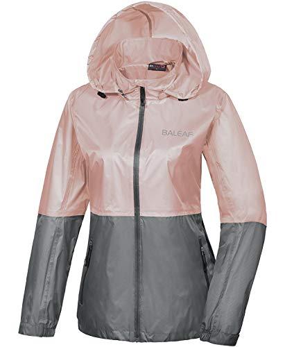 - Baleaf Women's Windbreaker Rain Jacket Hooded Lightweight Wind Resistant/Waterproof Hiking Jacket Pink/Grey S