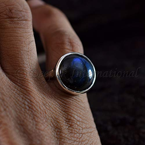Ravishing Deep Blue Labradorite Ring Solid 925 Sterling Silver Jewelry Real Gemstone Ring Genuine Flashy Labradorite Anniversary and Birthday Gift