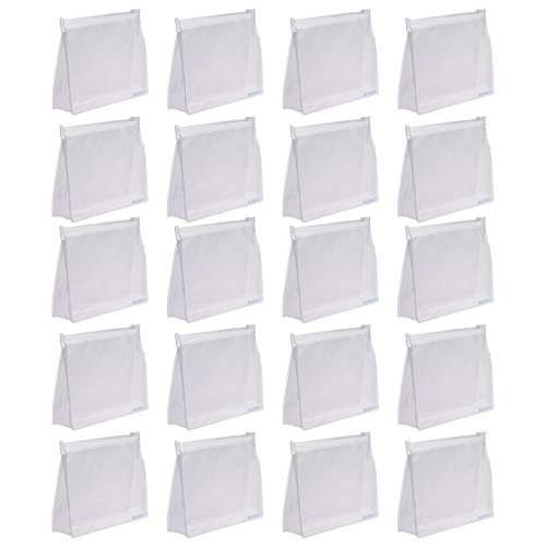 (Bluecell 20 PCS Mini Small PVC Transparent Plastic Cosmetic Organizer Bag Pouch With Zipper Closure,Travel Toiletry Makeup Bag)