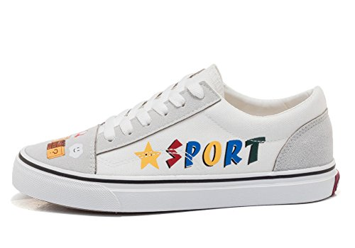 Hiease Women S Cute Graffiti Low Top Canvas Shoes Teens Girls Lace Up Flats Sneakers Size 4 9