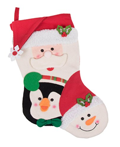 Clever Creations Christmas Friends Plush Stocking Santa, Penguin & Snowman with Red and Green Details | Perfect for Small Gifts and Stocking Stuffers | Measures 16