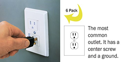 6-Pack Safety Innovations Self-closing (1Screw) Standard Outlet Covers - An Alternative To Wall Socket Plugs for Child Proofing Outlets (White) by Safety Innovations (Image #1)