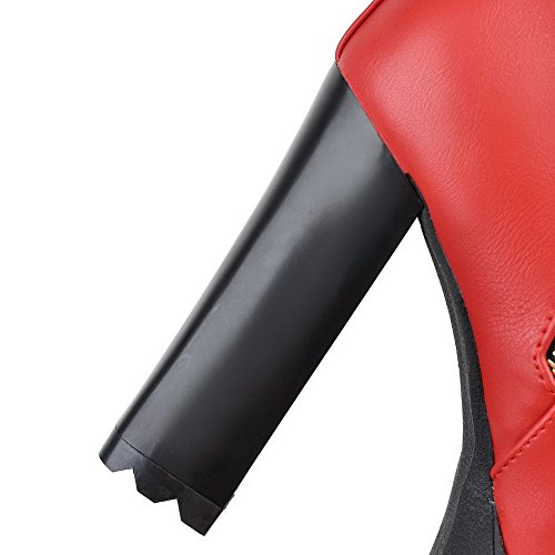AllhqFashion Mujeres Puntera Redonda Tacón Alto Caña Baja Sólido Botas con Metal Rojo