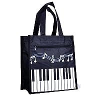 Piano Keys Music Waterproof Oxford Cloth Handbag Shoulder Tote Shopping Bag Gift (Black-Large-1)