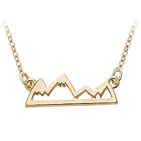 SENFAI Fashion Dainty Gold Silver Mountain Top Charm Necklace Snow Mountain
