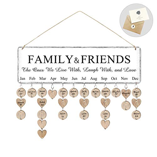 Airelon Gift for Mom Grandma, Mother Birthday Gifts Creative Wooden Calendar Family Birthday Board for Wife Xmas Gift for Females (Birthday Mothers Best Gifts For)