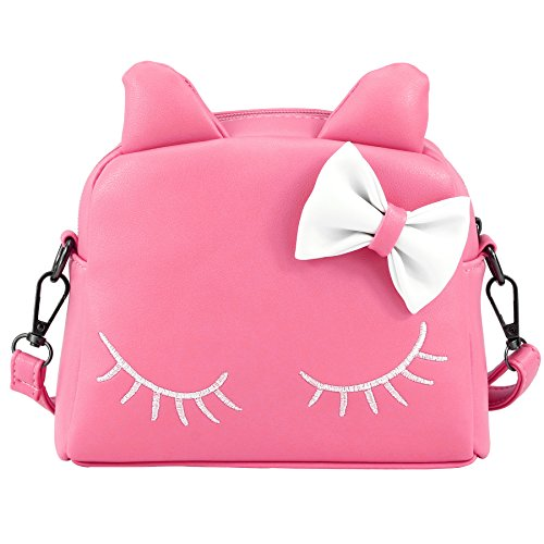 CMK Trendy Kids Cute Little Girls Cat Purse for Toddler Kids Mini Backpack Bags with Bows Crossbody Shouder Bag/Mini Backpack with Cute Ear in Candy Color (82003_Pink)