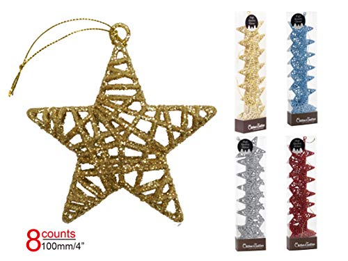 (Christmas Traditions 4 inch Gold Glittered Rattan Star Ornaments Hanging Tree/X'Mas Gifts/X'Mas Table Decorations (Set of 8))