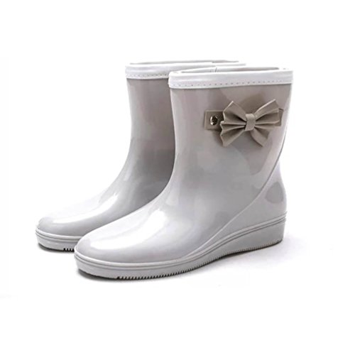 Middle Boots Women's Shoes High Ankle Waterproof Wellington Rain Rubber Booties Ladies Grey LvRao 5Aq8wgng