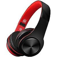 CIC Fone De Ouvido Dobrável Bluetooth Microfone Atende Ligacao on-ear Cancelamento de Ruído e Som Stéreo Integrado e Suporte para Celulares, PC e TV, Preto e Vermelho