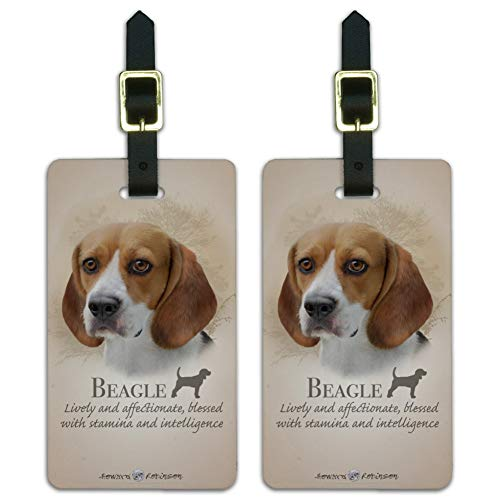 Beagle Dog Breed Luggage ID Tags Suitcase Carry-On Cards - Set of 2