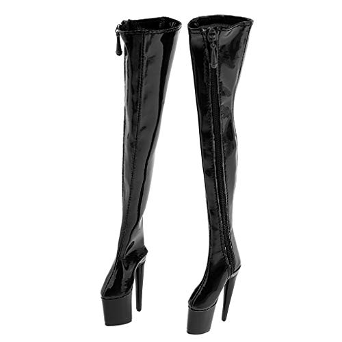- Flameer 1/6 Woman High Heel Thigh Boots Shoes Figure Accessories PU Leather Shoes for 12inch Female Action Figures - Black