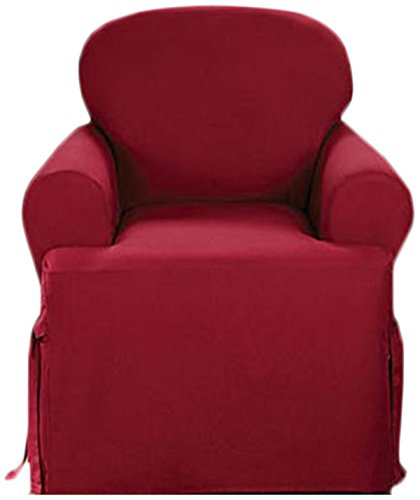 Sure Fit Cotton Duck One Piece Chair Slipcover - Claret (SF33877)