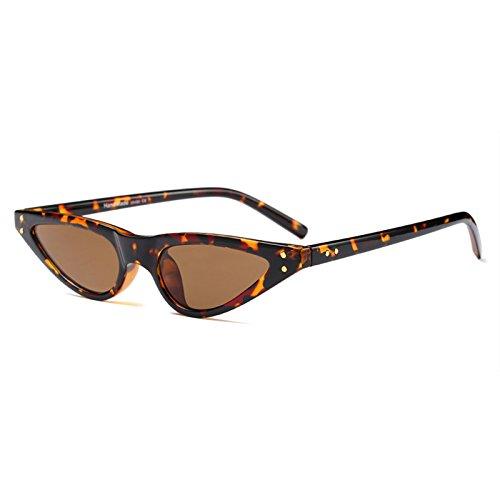 leopardo vintage pequeño triángulo sol gafas sol Gafas mujer para de UV400 tamaño de Cat de Retro Eye cateye TzZq8xwgZ