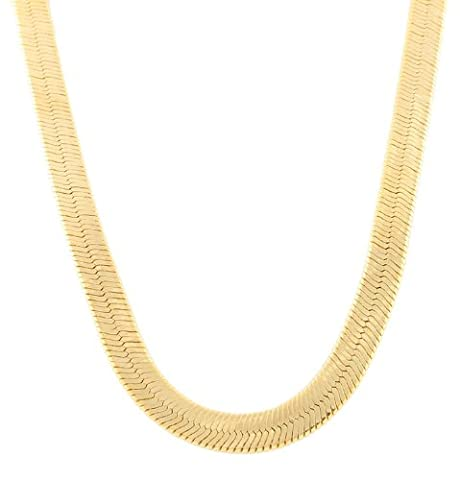 Goldtone 11mm Herringbone Chain Necklace (18 Inches) (P-124) (Chain Necklace Brass)