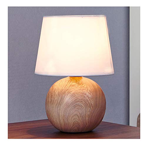 Wood Base Table Lamp - Ikebana 10.62 Inches White Fabric Ceramic Small Wood Bedside Table Lamp, Durable Round Table Lampes For Living Room Bedroom