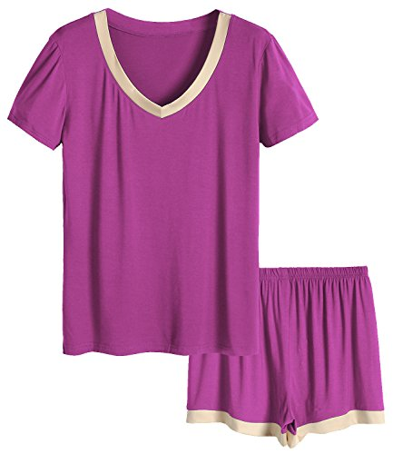 Size Plus Top Pajama (Latuza Women's V-Neck Sleepwear Short Sleeve Pajama Set 2X Boysenberry)