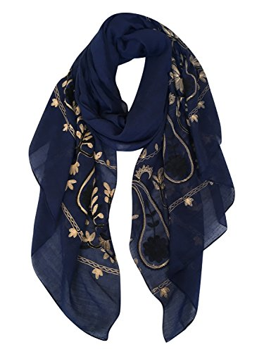 (GERINLY Women's Scarves: Fashion Paisley Embroidered Shawl Wrap Scarf)