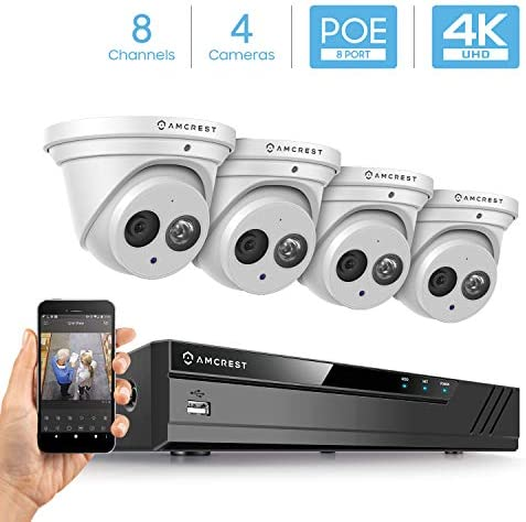 Amcrest 4K Security Camera System w 4K 8CH PoE NVR, 4 x 4K 8-Megapixel IP67 Weatherproof Metal Turret Dome POE IP Cameras 3840×2160 , 2.8mm Wide Angle Lens, NV4108E-IP8M-T2499EW4 White