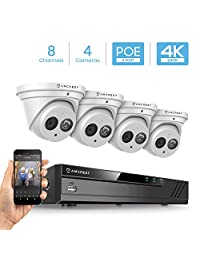 Amcrest - Sistema de cámara de seguridad 4K 8CH PoE NVR, cámaras IP POE con cúpula de metal (3840 x 2160)