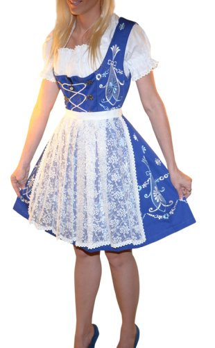 Dirndl Trachten Haus 3-piece Short German Wear Party Oktoberfest Waitress Dress 12 42 Blue by Dirndl Trachten Haus