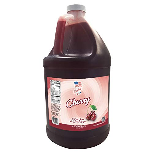 100% Fruit Juice Cherry Slushee Mix (NO ADDED SUGAR) | Case of 4 x 1 Gallons - 512 oz | (Yields Approximately 286-12oz Servings Per Case) | Mix 5 Parts Water With 1 Part Syrup