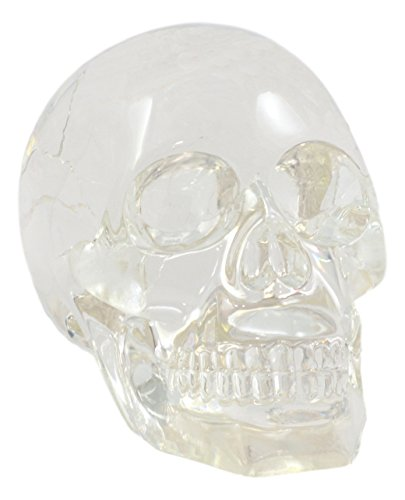 Ebros Clear Translucent Witching Hour Gazing Skull Statue 5.5