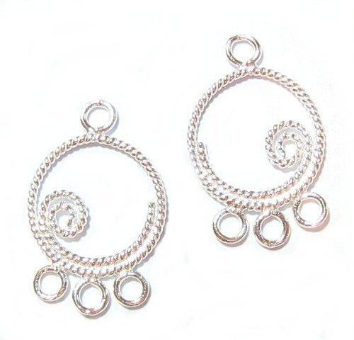 4 pcs .925 Sterling Silver Round Twist Chandelier Earring Wire Connector/Findings/Bright