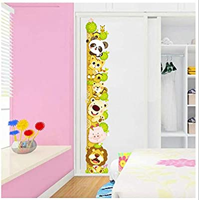 Super Lovely Growth Chart Wall Decor Stickers with Lion Panda Pig Tiger Bear Removbale Peel and Stick Room Decor Wall Decals Cartoon for Kids Boys Girls Nursery