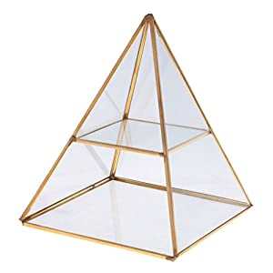 Jili Online 2 Tiers Glass Pyramid Jewelry Stand Display Case with Vintage Style Brass Tone Metal Frame - Gold