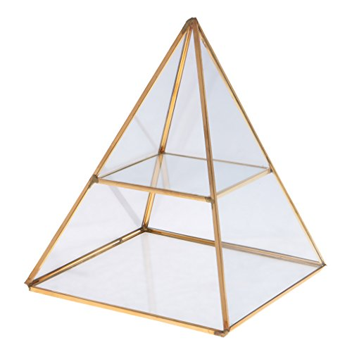 Jili Online 2 Tiers Glass Pyramid Jewelry Stand Display Case with Vintage Style Brass Tone Metal Frame - Gold - Display Case 2 Tier