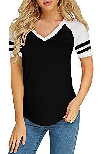 (Foshow Womens Short Sleeve Raglan Baseball Tee Jersey Striped V Neck Blouses Tshirts (Large, A Black))