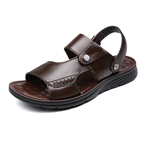 Men Leather Brown Open Toe Sandals Summer Beach Shoes Sandals Slippers Brown
