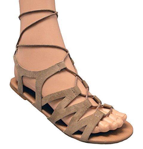 Charles Albert Donna Suede Criss Cross Lace Up Leg Wrap Gladiatore Sandalo Flat Sand