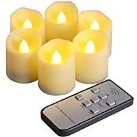 PChero 6pcs LED Flameless Candles with Remote Control and Timer Function, Brightness and Flicker/Continuous Bright Adjustable, Last More Than 200 Hours