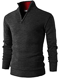 Mens Casual Slim Fit Mock Neck Zip up Basic Designed Pullover Sweater
