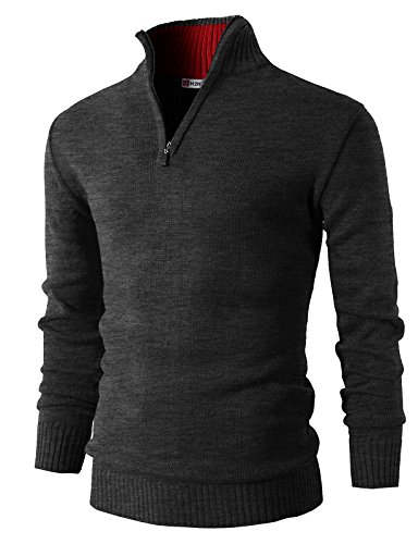 H2H Mens Casual Basic Pullover Sweater of Neck Zipper CHARCOAL US L/Asia XL (KMOSWL021) by H2H