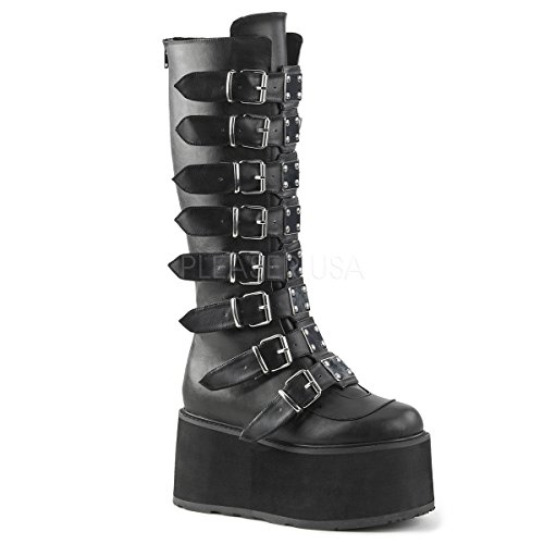 Demonia Women's Damned-318 Knee High Boot, Black Vegan Leather, 6 M US Demonias Knee Boots