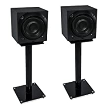 Mount-It! MI-58B Universal Premium High-Quality Floor-Standing, Home Theater 5.1 Channel Surround Sound System Satellite and Bookshelf Speaker Stands Mounts, Rear and Front, One Pair, 22 lb Capacity, Black