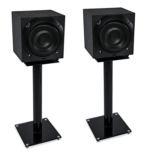Mount-It! Floor Speaker Stands for Satellite Speakers and Surround Sound (5.1 and 2.1) Systems, Glass and Aluminum, Black (MI-58B) ()