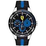 Ferrari Men's RedRev Quartz Stainless Steel and Silicone Strap Casual Watch, Color: Black (Model: 830587)