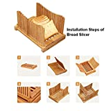 Bamboo Bread Slicer with Knife, Cutting Guide for