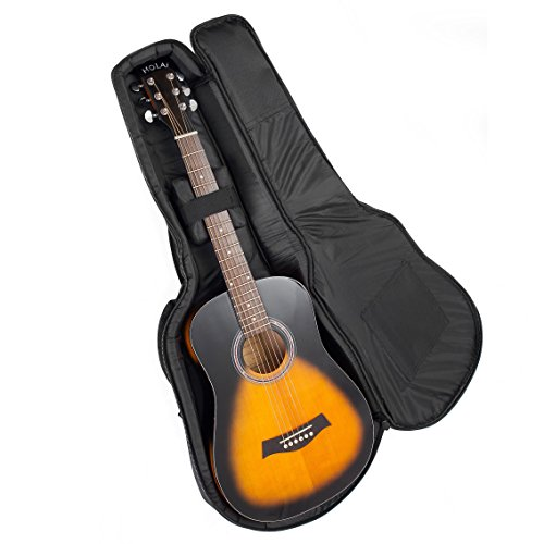Acoustic and Classical Guitars Gig Bag 3/4 Size (36 inch) by Hola! Music, Deluxe Series with 15mm Padding, Black by Hola! Music (Image #2)