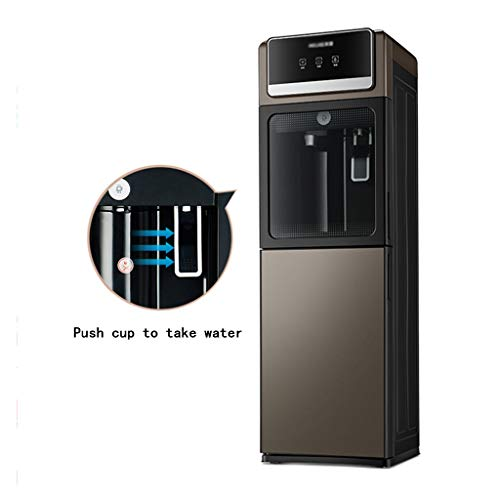 LU- Brown Vertical hot and Cold Water Dispenser, Fully Automatic Intelligent Home Office Energy-Saving ice Warming Water Machine, Push Cup Water | 304 Food Grade Stainless Steel | with lockers