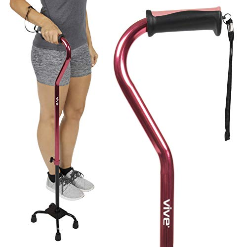Vive Quad Cane - Walking Stick for Men and Women - Lightweight Adjustable Staff - Comfortable Right and Left Hand Grip for Stability Support - Four Prong Sturdy Aluminum Travel Aid - 4 Tip