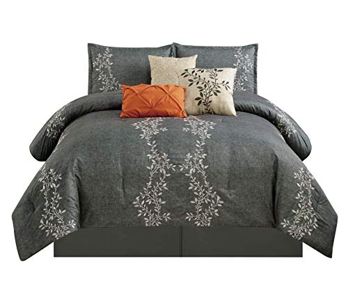 Chezmoi Collection Leafton 7 Pieces Leaves Tree Branches Embroidery Design Charcoal/Gray Bedding Comforter Set (King) ()