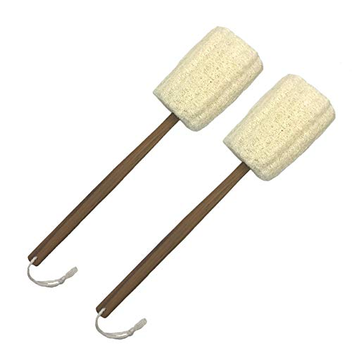 Eco Creation Deluxe 17.5 Teak Wood Handle Natural Loofah Back Scrubber, Bath Sponge, Shower Pouf. Large Quality Gourd Luffa with Sturdy 17.5 Inch Teak Wood Handle (Set of 2).
