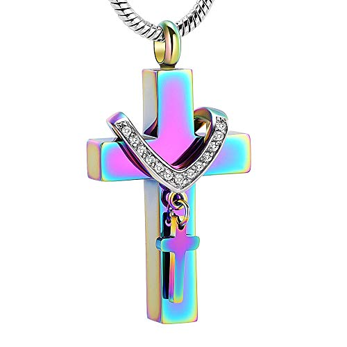 - Stainless Steel Cross Memorial Cremation Ashes Urn Pendant Necklace Keepsake Jewelry Urn (Colourful)
